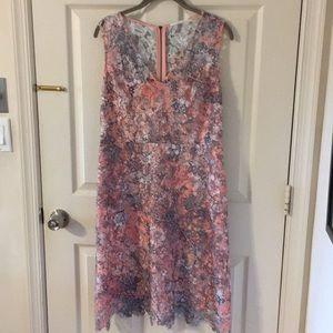 Tahari Lacy Peach and Gray Dress size 8/10